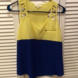 Blue and yellow color block with cut out straps